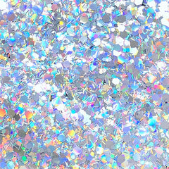 Holographic Hexagon and Bar Glitter | Holo Confetti Sprinkles | Embellishments for Resin Crafts (AB Silver / 5 grams)