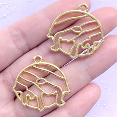 Drippy Donut Open Bezel Charm | Food Pendant | Kawaii Sweet Deco Frame for UV Resin Jewellery DIY (2 pcs / Yellow Gold / 29mm x 28mm)