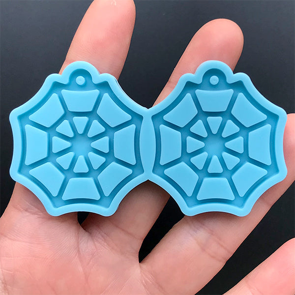 Spiderweb Charm Silicone Mold (2 Cavity) | Halloween Dangle Earrings DIY | Resin Jewelry Making | Resin Art Supplies (33mm x 37mm)
