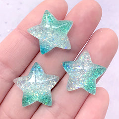 Glittery Star Cabochons | Kawaii Decoden Cabochon with Glitter | Phone Case Deco (Blue Green / 3 pcs / 20mm x 19mm)