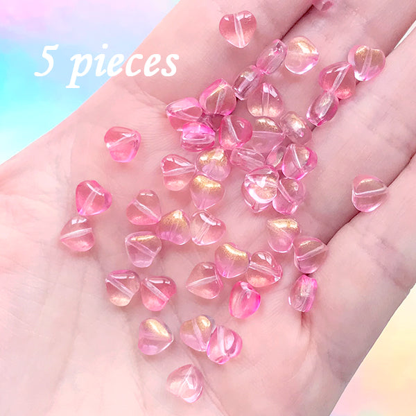 Small Heart Beads in Pink Gradient Color | Mini Glass Bead | Kawaii Jewelry Supplies (Pink Gold / 5 pcs / 6mm)