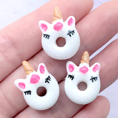 Miniature Unicorn Donut Cabochons | Dollhouse Doughnut | Confection Embellishments | Kawaii Supplies (3 pcs / White / 16mm x 21mm)