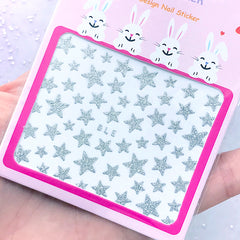 Silver Star Stickers with Glitter | Glittery Nail Designs | Embellishment for Resin Craft | Nail Art Deco