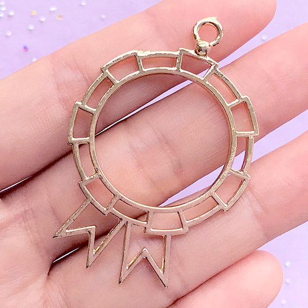 Badge Open Back Bezel Charm | Deco Frame for UV Resin Filling | Kawaii Resin Jewelry Making (1 piece / Gold / 34mm x 51mm)