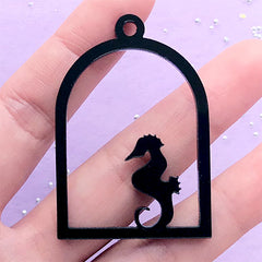 Seahorse Open Backed Bezel | Acrylic Bird Cage Deco Frame | Kawaii UV Resin Jewelry Supplies (1 piece / Black / 34mm x 49mm / 2 Sided)