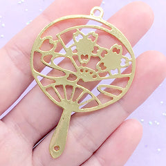 Sakura Hand Fan Open Bezel Charm | Cherry Blossom Japanese Fan Deco Frame for UV Resin Filling (1 piece / Gold / 40mm x 60mm)