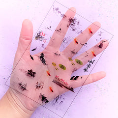 Animal and Nature in Chinese Painting Style Clear Film Sheet | Oriental Embellishments | Resin Inclusions | UV Resin Craft Supplies