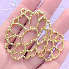 Floral Open Bezel | Flower Charm | Deco Frame for UV Resin Filling | Kawaii Jewelry Supplies (1 piece / Gold / 54mm x 48mm)