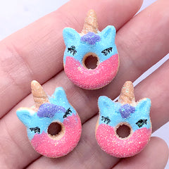 Miniature Unicorn Doughnut Cabochons | Dollhouse Donut | Faux Sweets | Decoden Phone Case DIY (3 pcs / Blue Pink / 16mm x 21mm)
