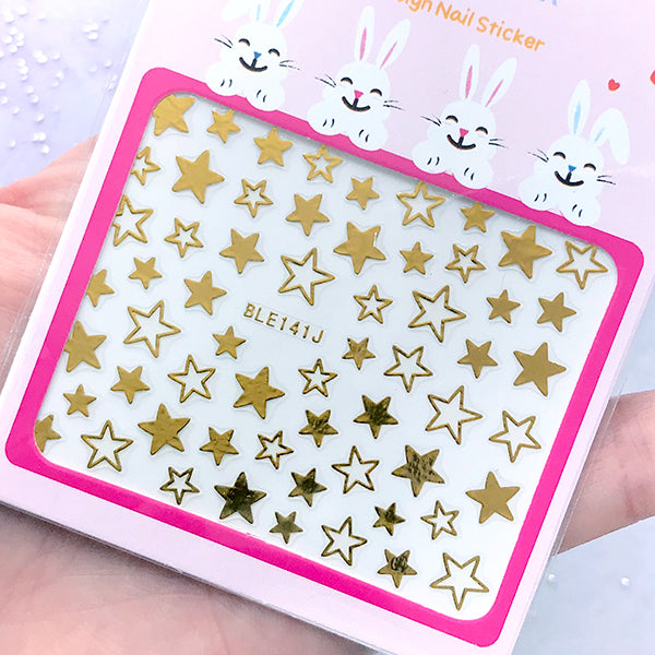Kawaii Gold Star Sticker | Nail Decoration Stickers | Embellishment for Resin Art