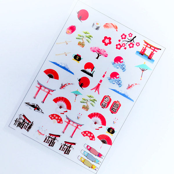Japanese Culture Clear Film Sheet | Japan Embellishments | Resin Inclusions | Filling Material for Resin Crafts