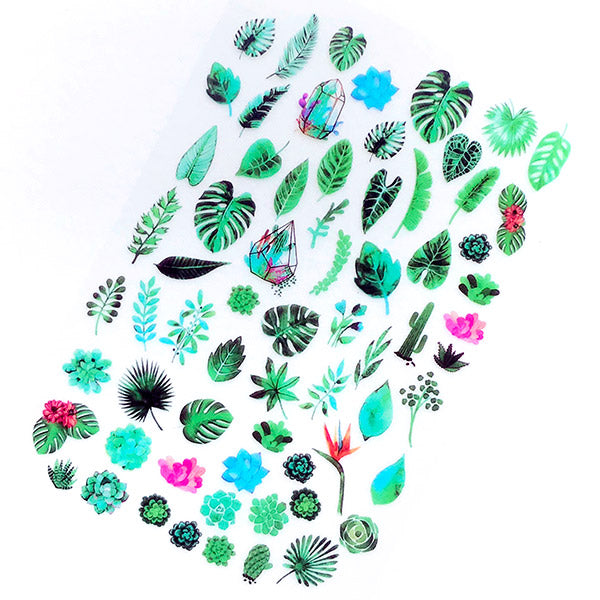 Tropical Leaves Clear Film Sheet For Resin Jewellery Making Palm