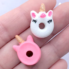 Unicorn Donut Cabochons | Dollhouse Miniature Doughnut | Fake Sweets | Decoden Supplies | Kawaii Crafts (3 pcs / Mix / 16mm x 21mm)