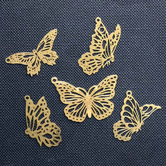 Assorted Butterfly Metal Bookmark Charm | Hollow Insect Deco Frame for UV Resin Filling | Kawaii Jewelry Making (5 pcs)