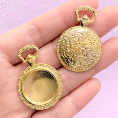 Round Pocket Watch Bezel Tray with Filigree Pattern | 20mm Cabochon Setting | Cameo Holder | Memory Pendant (2pcs / Gold)