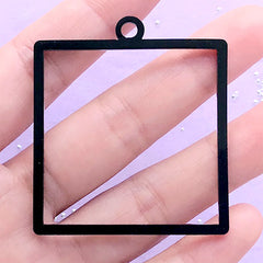 Big Square Black Acrylic Open Back Bezel Pendant | Geometric Deco Frame | UV Resin Jewelry Supplies (1 piece / Black / 44mm x 49mm / 2 Sided)