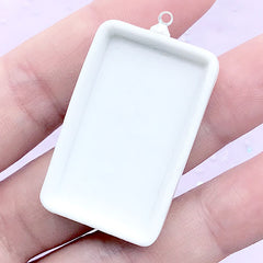 Rectangular Porcelain Bezel Setting | Ceramic Bezel Tray | UV Resin Jewellery Making (1 piece / White / 23mm x 41mm)