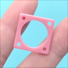 Acrylic Square Connector Charm | Retro Dangle Earrings Making | Colourful Chunky Geometric Jewellery DIY (1 Piece / Pink / 20mm)