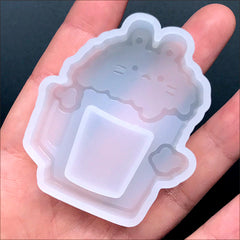 Kawaii Beer Animal Shaker Charm Silicone Mold for Resin Jewelry DIY | Cute Resin Shaker Making (45mm x 52mm)