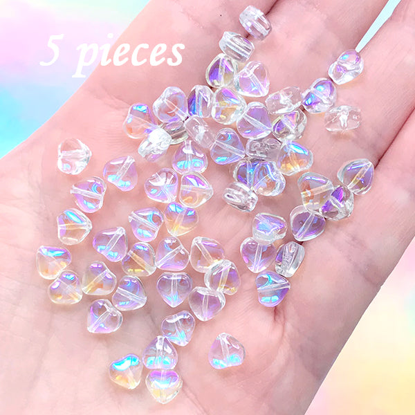 Iridescent Rainbow Heart Beads | Mini Glass Bead | Kawaii Bracelet Making (AB Clear / 5 pcs / 6mm)