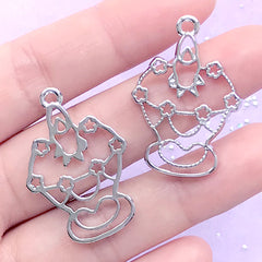 Cupcake and Candle Open Bezel Charm | Sweet Deco Frame for UV Resin Filling | Kawaii Jewelry Making (2 pcs / Silver / 23mm x 33mm)