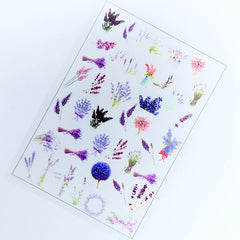 Lavender Clear Film Sheet | Flower Embellishments | Floral Resin Inclusions | UV Resin Craft Supplies