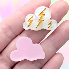 Assorted Cloud Cabochons | Thunder and Rain Weather Embellishments | Kawaii Decoden Supplies (5 pcs / Mix / 27mm x 19mm)