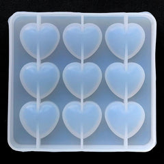 Puffy Heart Silicone Mold (9 Cavity) | Kawaii Decoden Cabochon Making | Clear Mold for UV Resin | Epoxy Resin Mould (31mm x 29mm)