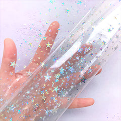 Transparent TPU Fabric Sheet with Holographic Star Pattern | Kawaii Vinyl Bags Making (Clear / 20cm x 26cm / 0.25mm)