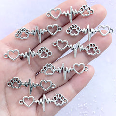 Paw Print Heartbeat Connector Charm | Vet Doctor Pendant | Animal Lover Jewelry Making | Gift for Veterinarian (8 pcs / Silver / 12mm x 34mm)