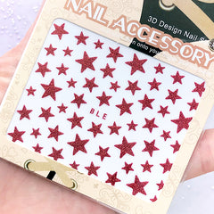 Red Star Sticker with Glitter | Nail Decoration | Glittery Resin Inclusion | Nail Art Supplies