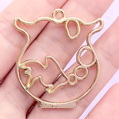 Fish in Bowl Open Back Bezel for UV Resin Filling | Goldfish Bowl Deco Frame | Kawaii Jewellery DIY (1 piece / Gold / 35mm x 38mm)