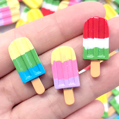 Rainbow Popsicle Cabochons | Colorful Ice Pop Embellishments | Sweet Deco | Kawaii Phone Case Decoden Supplies (3 pcs by random / 12mm x 28mm)