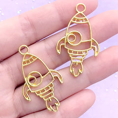 Spacecraft Open Bezel | Rocket Ship Charm | Spaceship Deco Frame for UV Resin Filling | Kawaii Jewelry DIY (2 pcs / Gold / 23mm x 39mm)