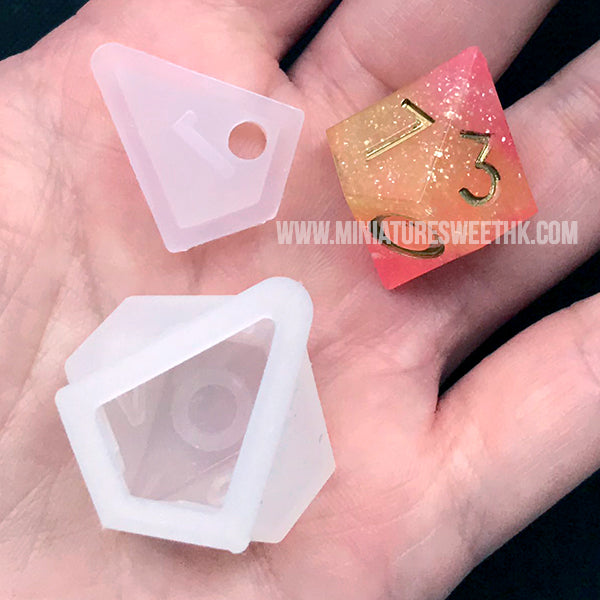 Trapezohedron d10 Silicone Mold | Polyhedral Dice DIY Mold | RPG Game Die Mold | Resin Mould Supplies (23mm x 28mm)