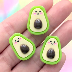 Kawaii Avocado Face Cabochons | Decoden Embellishments | Cute Food Jewelry Making (3 pcs / 17mm x 22mm)