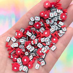 Love Letter and Red Flower Polymer Clay Slices and Faux Sugar Strands | Fake Sugar Pearls and Dragee Sprinkles Toppings (10 grams)