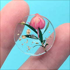 Dried Flower Bud Cabochon with Gold Foil | Round Floral Cabochon for Pendant Making | Resin Jewelry DIY (1 Piece / 20mm)