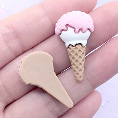 Strawberry Ice Cream Cabochons | Kawaii Craft Supplies | Faux Sweet Deco | Fake Food Embellishments (2 pcs / Pink / 16mm x 29mm)