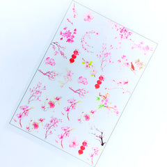 Peach Blossom Clear Film Sheet | Sakura and Plum Flower Embellishments | Floral Resin Inclusions | UV Resin Art Supplies
