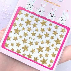 Gold Star Nail Sticker | Glittery Nail Art Stickers | Resin Inclusions | Nail Decorations