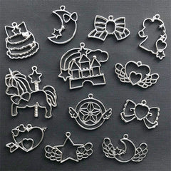 Kawaii Open Bezel Assortment | UV Resin Jewelry Supplies | Unicorn Moon Star Heart Ribbon Charm | Magical Girl Pendant (12 pcs / Silver)