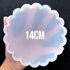 Round Scalloped Coaster Silicone Mold | Resin Coaster DIY | Epoxy Resin Art Supplies | Clear Mold for UV Resin (140mm)
