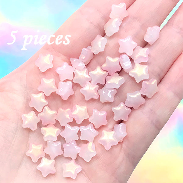 Small Puffy Star Beads | Mini Glass Bead | Kawaii Jewelry Supplies (Jade Pink Gold / 5 pcs / 8mm)