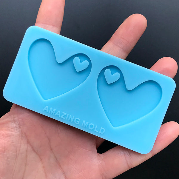Heart Pendant Silicone Mold | Kawaii Keychain Making | Chunky Jewelry DIY | Resin Art Supplies (38mm x 33mm)
