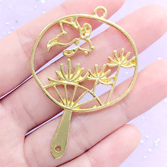 Goldfish and Red Spider Lily Handheld Fan Open Bezel Pendant | Oriental Hand Fan Deco Frame for UV Resin Jewellry DIY (1 piece / Gold / 40mm x 60mm)
