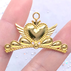Kawaii Winged Heart Crown Bezel Charm | Magical Girl Enamel Jewelry Making (1 piece / Gold / 40mm x 26mm)