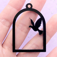 Dove Open Bezel for UV Resin Filling | Acrylic Bird Cage Charm | Kawaii Craft Supplies (1 piece / Black / 34mm x 49mm / 2 Sided)