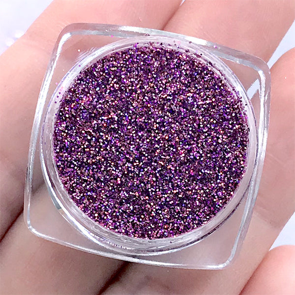 Iridescent Holo Glitter Powder | Holographic Embellishment for Resin Craft | Resin Jewelry DIY (Dark Pink / 0.2mm / 2.5g)