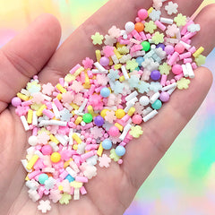 Pastel Sakura Polymer Clay Slices and Faux Sugar Pearls and Colorful Chocolate Strands | Fake Food Sprinkles (10 grams)